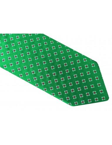Zielony krawat męski w biało-czerwone kwiatki D22