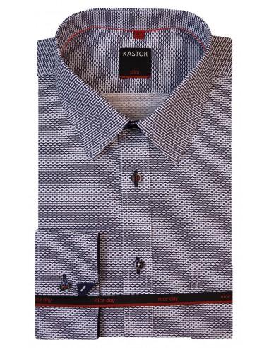 Biała koszula męska w gęsty granatowy wzór K12