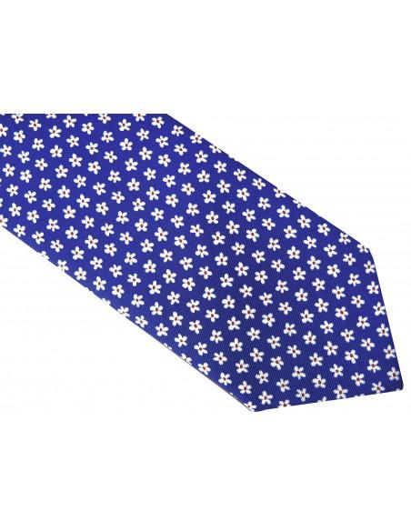 Granatowy krawat męski w kwiatki D33