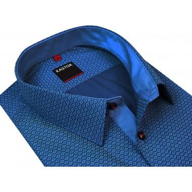 Granatowa koszula męska w niebieskie kwiatki K11