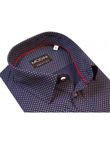 Ciemno granatowa koszula męska w białe kwadraty