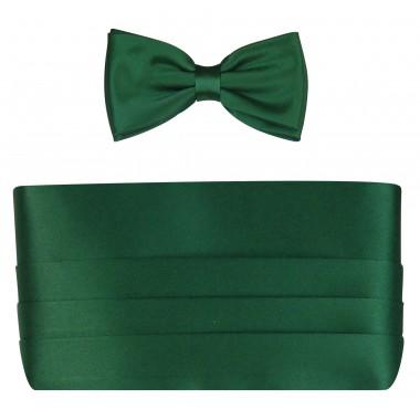 Zielony pas smokingowy z muchą szeroką P1