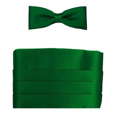 Zielony Pas Smokingowy z Muchą oraz Poszetką