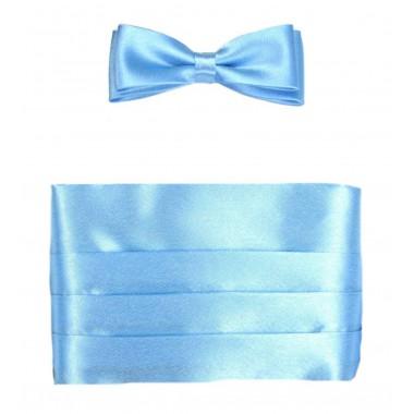 Błękitny pas smokingowy z muchą męską