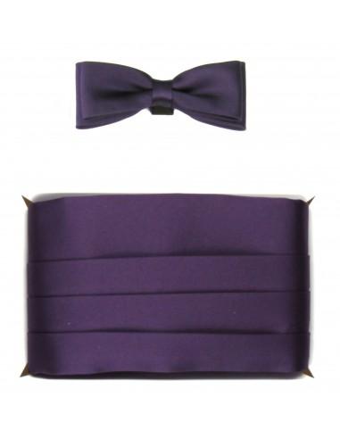 Śliwkowy - ciemno fioletowy pas smokingowy z muchą