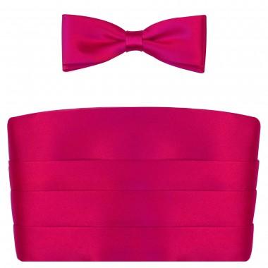 Różowy pas smokingowy (amarant) z muszką slim