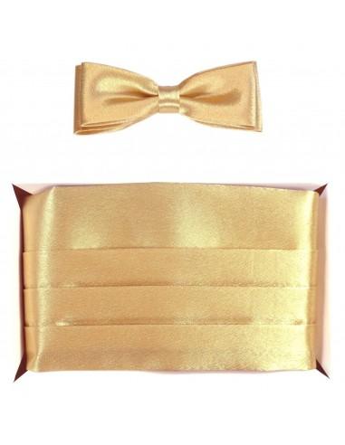 Złoty pas smokingowy z muchą slim