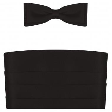 Czarny pas smokingowy z muchą i białą poszetką PS02