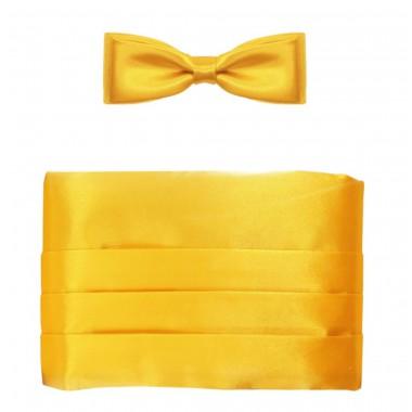 Żółty pas smokingowy (mucha + poszetka)