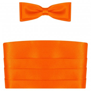 Pomarańczowy pas smokingowy z muchą i poszetką