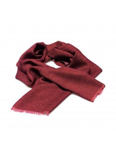 Czerwony szal męski w drobne, białe kropki