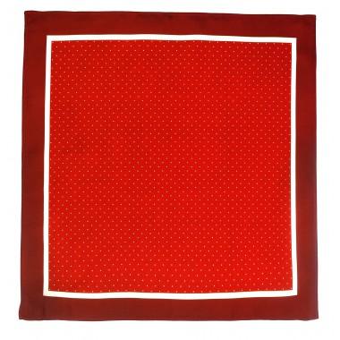 Bordowo-czerwona poszetka w kropki