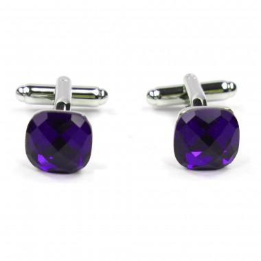 Spinki do mankietów koszuli - fioletowe kryształy H9