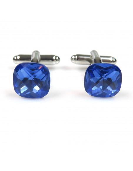 Spinki do mankietów niebieskie kryształy H4