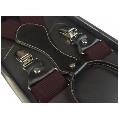 Czekoladowe -brązowe szelki męskie do spodni SZ12