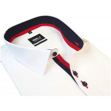 Biała koszula Mmer z czerwono-granatową stójką 700 / 300