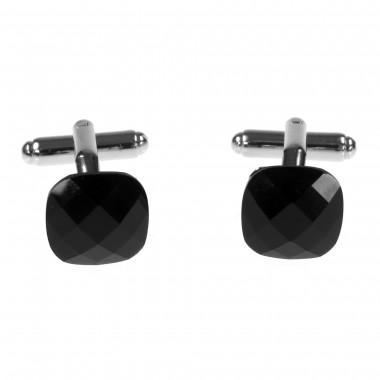 Spinki do mankietów - czarne kryształy H76