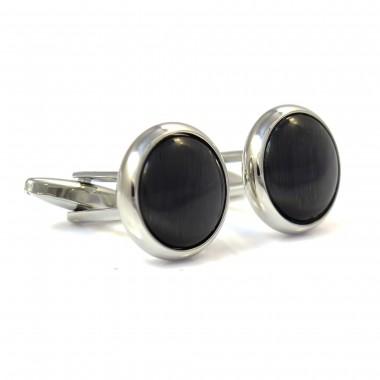 Srebrne spinki do mankietów z czarnym oczkiem PREMIUM