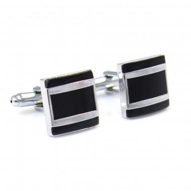 Czarne kwadratowe spinki do mankietów - srebrny prostokąt N19