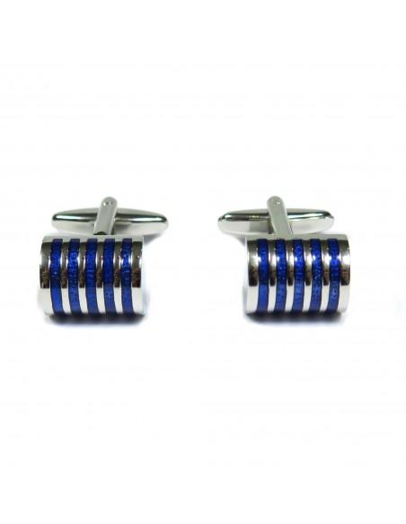 Srebrne / niebieskie spinki męskie A13