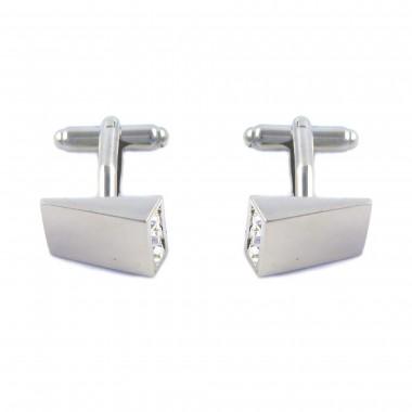 Spinki do mankietów z białymi kryształami A23