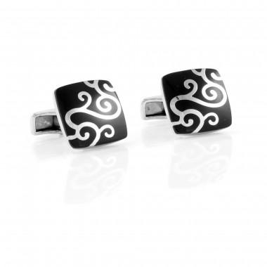 Czarne spinki do mankietów - srebrny floral SH5