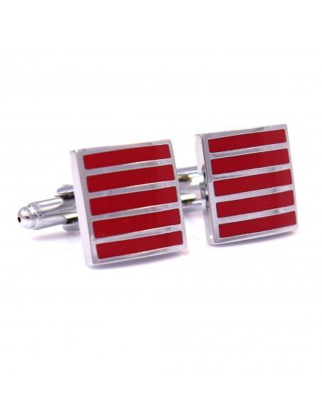Kwadratowe czerwone spinki do mankietów - pionowe srebrne paski N13