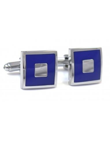 Kobaltowe kwadratowe spinki do mankietów - srebrny prostokąt N2