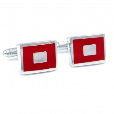 Czerwone prostokątne spinki do mankietów - srebrne prostokąty N4