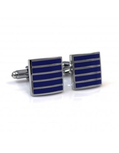 Kobaltowe spinki do mankietów - srebrne paski N15
