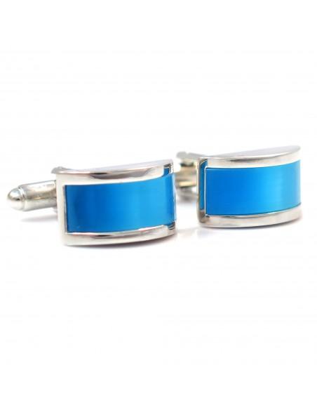 Srebrno-niebieskie zaokrąglone spinki do mankietów