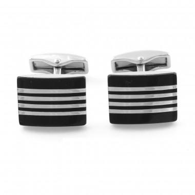 Czarne spinki do mankietów ze srebrnymi paskami H93