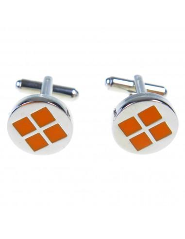 Okrągłe spinki do mankietów z pomarańczowymi kwadratami M67