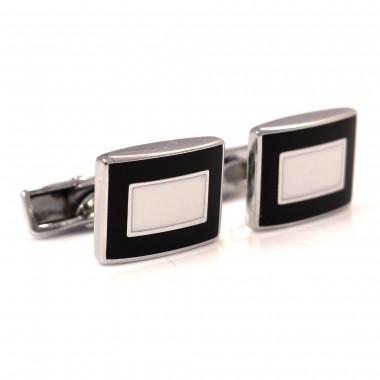 Czarne prostokątne spinki do mankietów z białym prostokątem N20