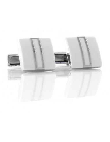 Spinki do mankietów białe kwadraty ze srebrnymi paskami A30