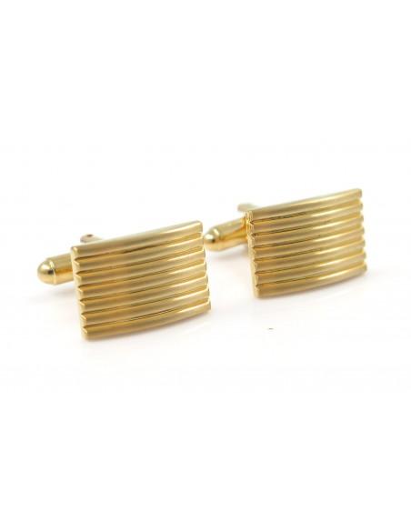 Złote spinki do mankietów z poziomymi liniami M62