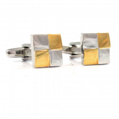 Spinki do mankietów - srebrno-złote kwadraty M98