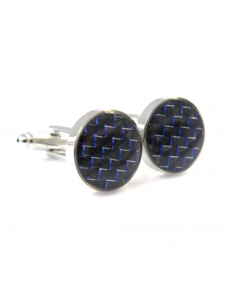 Czarne okrągłe spinki do mankietów z niebieskim A108