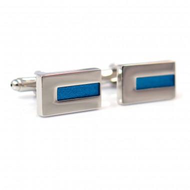 Prostokątne srebrne spinki do mankietów z niebieskim paskiem A112