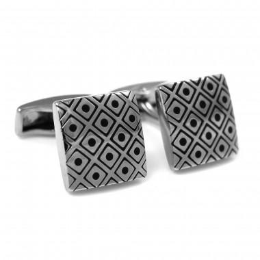 Kwadratowe srebrne spinki do mankietów z czarnym wzorem H116