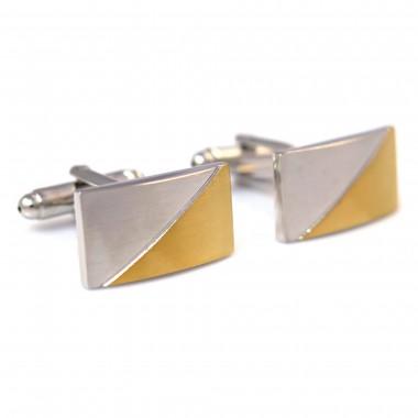 Prostokątne srebrno-złote spinki do mankietów H119