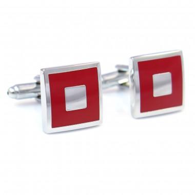 Czerwono-srebrne kwadratowe spinki do mankietów N10