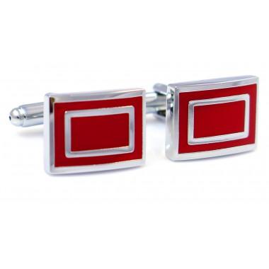 Srebrno-czerwone spinki do mankietów - prostokąty N3