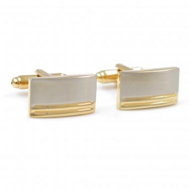 Złoto-srebrne spinki do mankietów - poziome linie N12