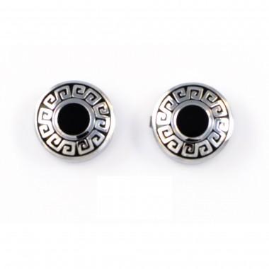 Srebrno-czarne okrągłe spinki / nakładki na guziki ze wzorem