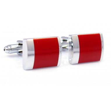Srebrne prostokątne spinki do mankietów - czerwony kwadrat N7