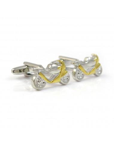 Srebrno złote spinki do mankietów - motocykle A88