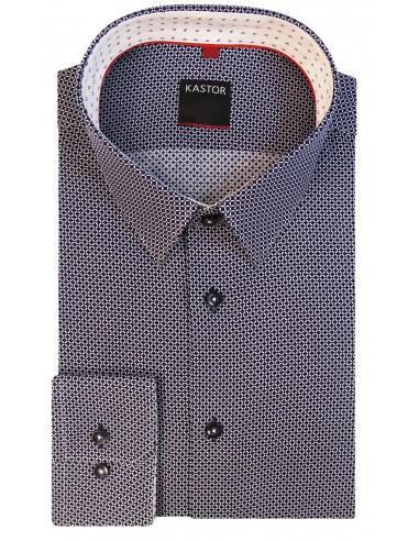 Granatowa koszula Kastor z białym wzorem