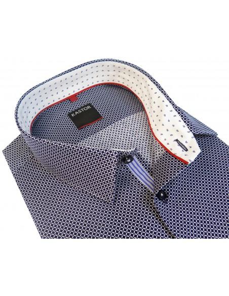 Granatowa koszula Kastor z białym wzorem K19