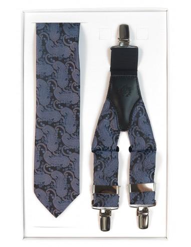 Granatowy zestaw w wzór paisley - krawat i szelki